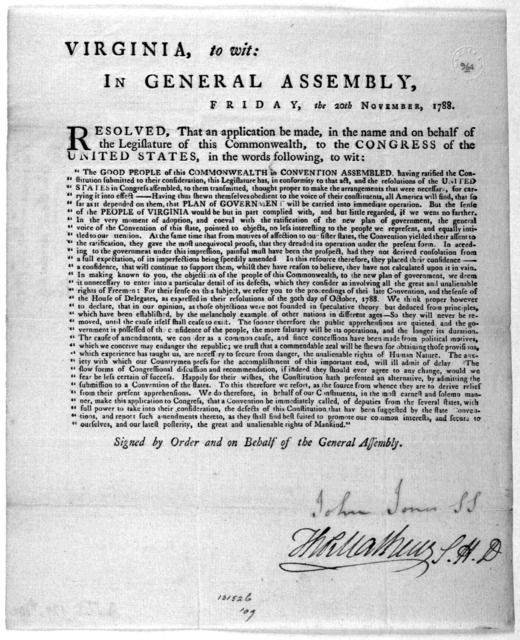 Virginia, to wit: In General Assembly, Friday, the 20th November, 1788. Resolved, that an application be made in the name and on behalf of the Legislature of this Commonwealth to the Congress of the United States, in the words following, to wir