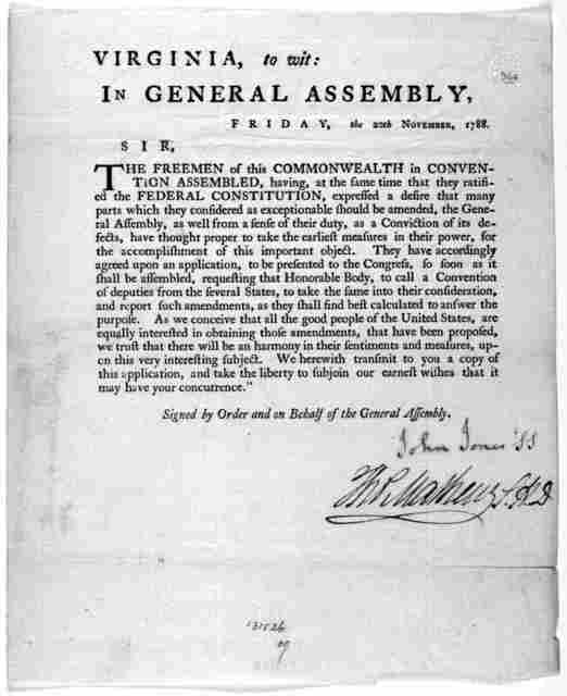 Virginia, to wit: In General assembly, Friday, the 20th November 1788. Sir, The freemen of this Commonwealth in Convention assembled, having at the same time that they ratified the Federal constitution, expressed a desire that many parts which t