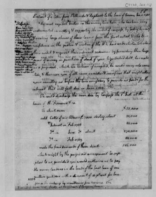 Wilhelm Willink, et al to Treasury Board, January 11, 1788, Thomas Jefferson's Extract