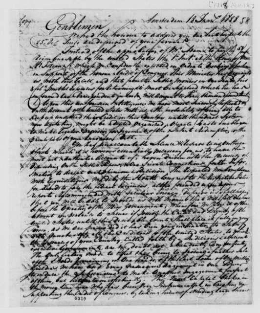 Wilhelm Willink, et al to Treasury Board, January 18, 1788, United States Finances and Debt