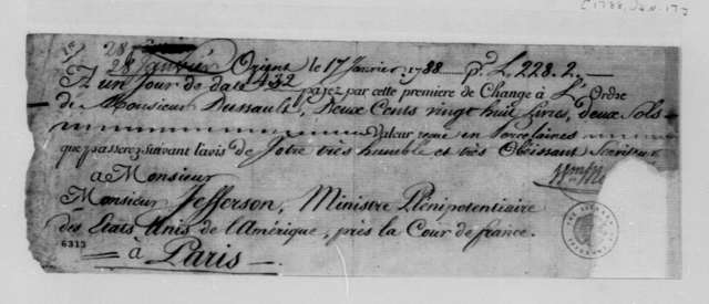 William Macarty, January 17, 1788, Cancelled Bank Draft Endorsed by J. Dussault to Cover Cost of Chinaware for Thomas Jefferson; in French