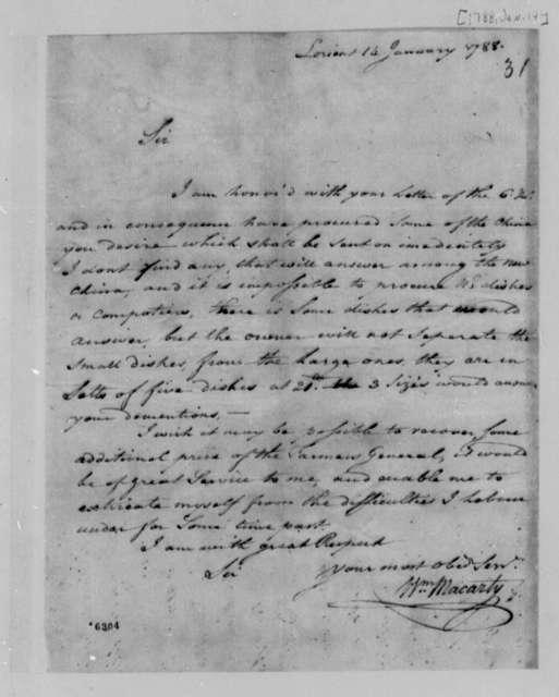 William Macarty to Thomas Jefferson, January 14, 1788