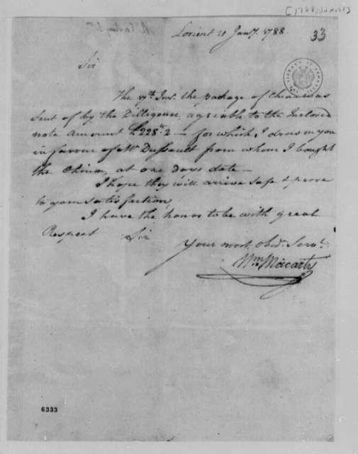 William Macarty to Thomas Jefferson, January 21, 1788