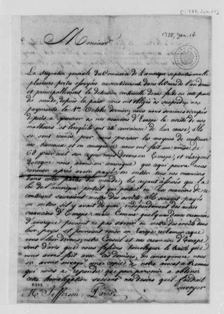 Wilt, Delmestre & Company to Thomas Jefferson, January 14, 1788, in French