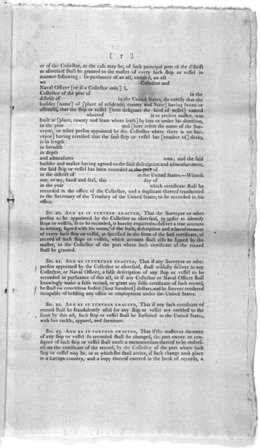 A bill for registering and clearing vessels, and regulating the coasting trade. New York, printed by Thomas Greenleaf [1789].