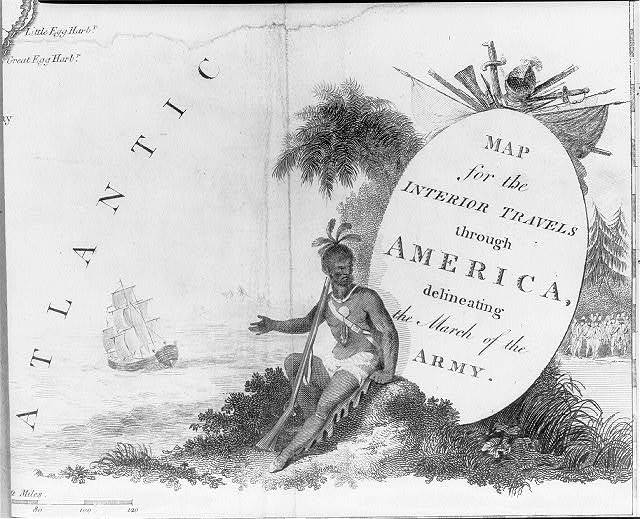 "[A Native warrior on the cartouche for ""Map for the Interior Travels through America, delineating the March of the Army""] / T. Conder, sculpsit."
