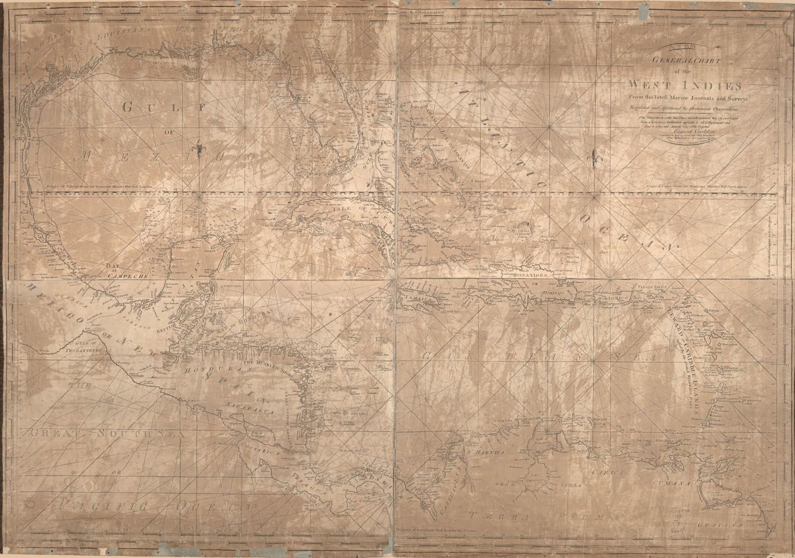 A new general chart of the West Indies, from the latest marine journals and surveys; regulated and ascertained by astronomical observations. I, the subscriber, do certify that I have carefully examined this chart copied from a London publication agreeable to Act of Parliament and find it a true and accurate copy of the original.