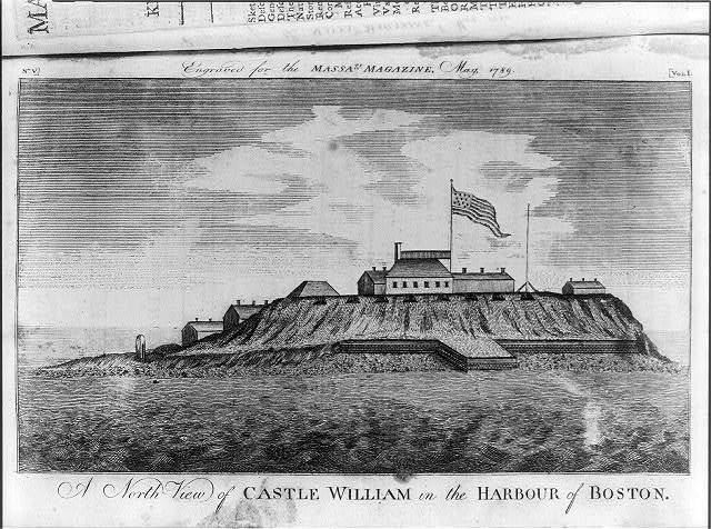 A north view of the Castle William in the harbour of Boston