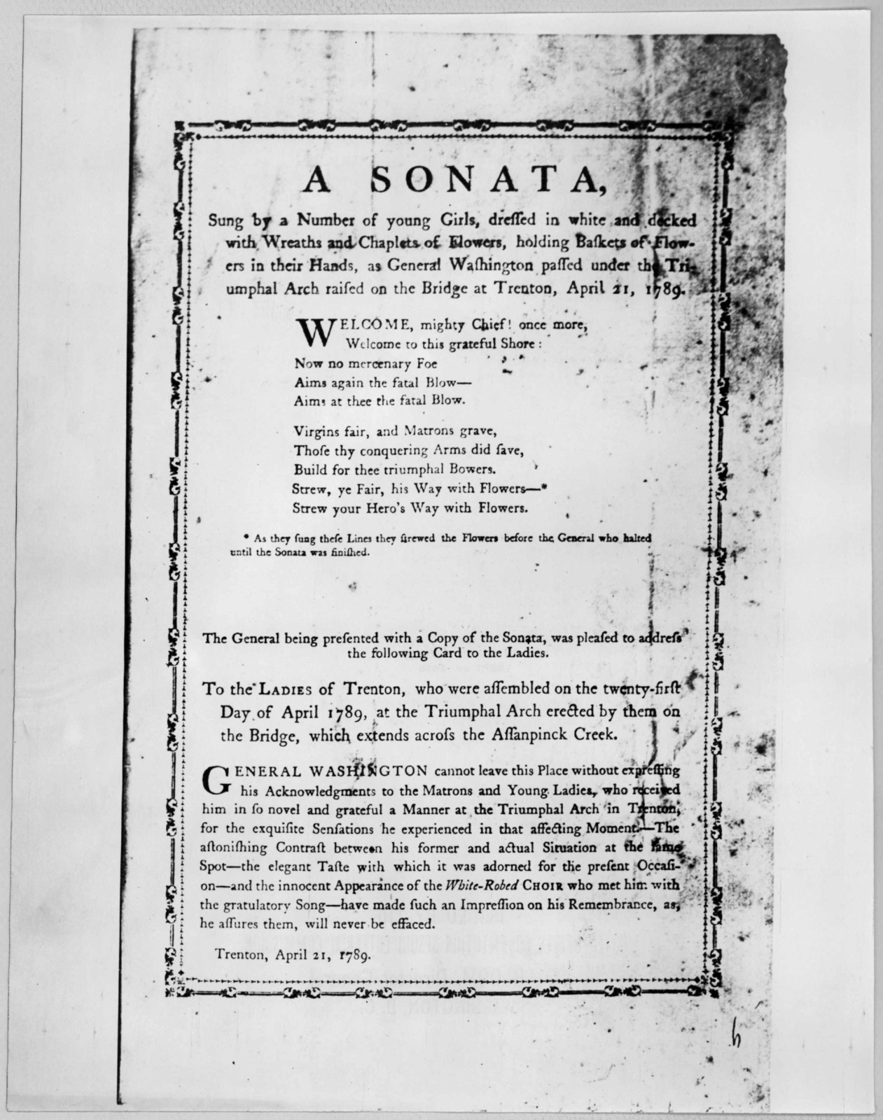 A sonata, sung by a number of young girls, dressed in white and decked with wreaths and chaplets of flowers, holding baskets of flowers in their hands as General Washington passed under the Triumphal arch raised on the bridge at Trenton, April 2