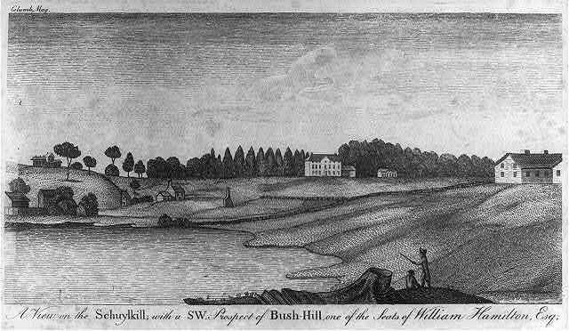 A View from the Schuykill, with a S.W. Prospect of Bush Hill, one of the seats of William Hamilton, esq.