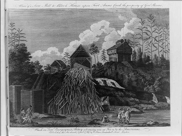 A view of a saw mill and block house upon Fort Anne Creek ...which on Gen. Burgoyne's army advancing was set fire to by the Americans
