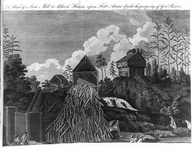 A view of the saw-mill & block house upon Fort Anne Creek, the property of Genl. Skeene, which on Genl. Burgoyne's army advancing, was set fire to, by the Americans