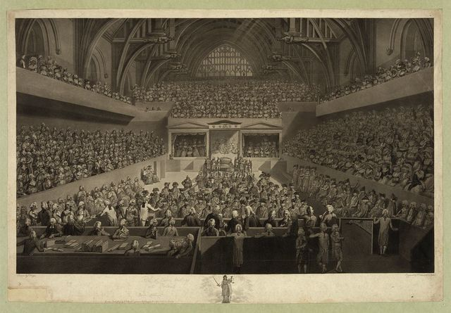 A view of the tryal of Warren Hastings Esqr. before the Court of Peers in Westminster Hall on an impeachment delivered at the Bar of the House of Lords by the Commons of Great Britain in Parliament assembled February 13, 1788 / drawn by E. Dayes ; engraved by R. Pollard, aqt. by F. Jukes.