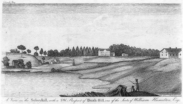A view on the Schuylkill, with a SW prospect of Bush-Hill, one of the seats of William Hamilton, Esq.