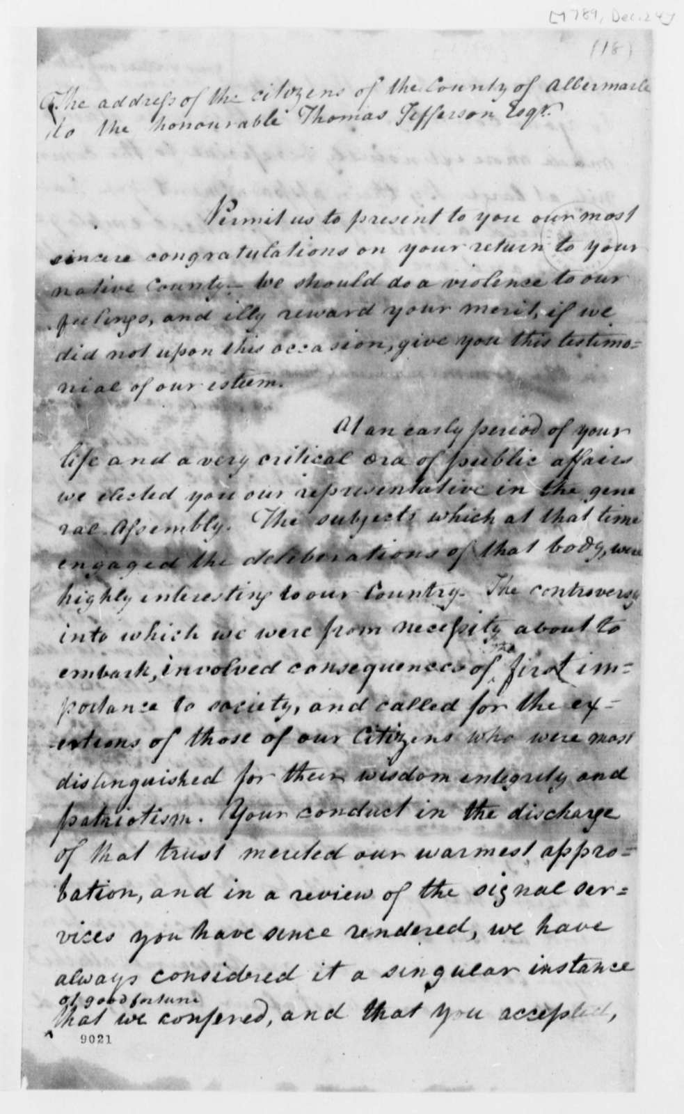 Albemarle County, Virginia, Citizens to Thomas Jefferson, December 24, 1789