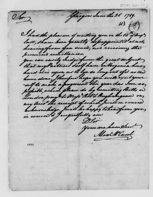 Alexander McCaul to Thomas Jefferson, June 25, 1789