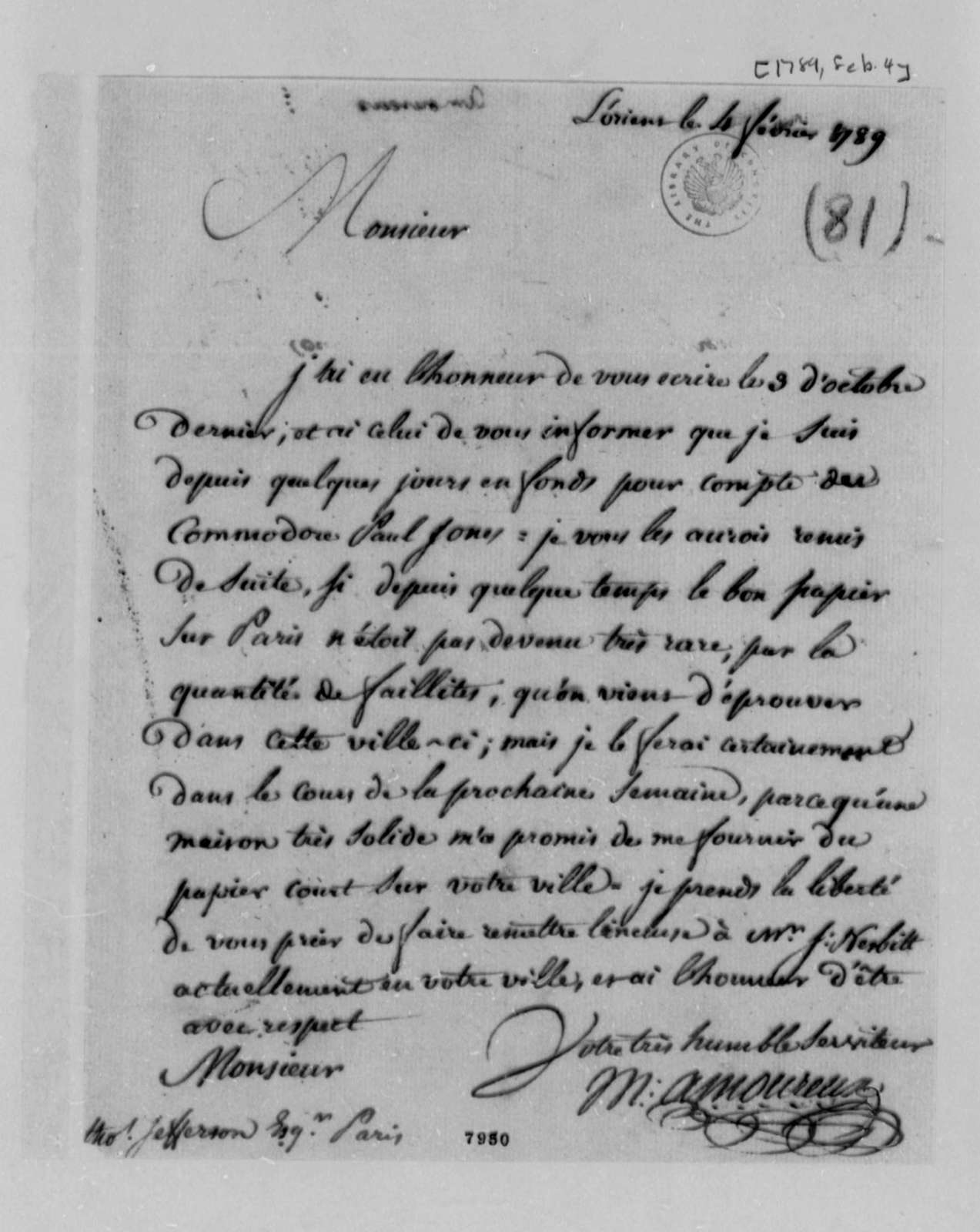 Amoureux to Thomas Jefferson, February 4, 1789, in French