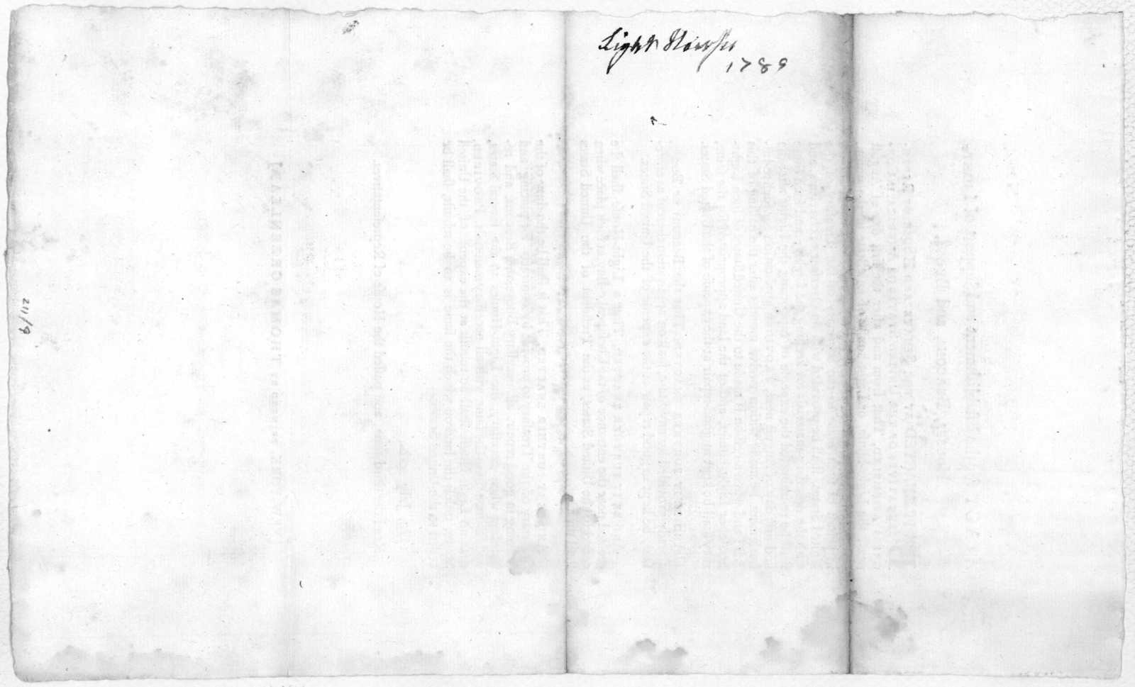 An act for the establishment and support of light houses, beacons and buoys ... 1789 July 20h. Read the third time and passed the House of representatives. New York: Printed by Thomas Greenleaf [1789].