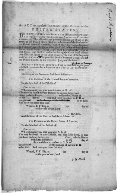 An act to regulate processes in the Courts of the United States ... In Senate of the United States, September 17, 1789. Read the first time. Samuel A. Otis, Sec. New York, Printed by Thomas Greenleaf [1789].