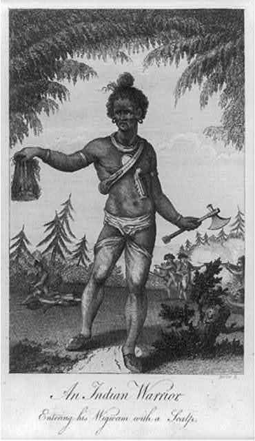 An Indian warrior entering his wigwam with a scalp / Barlow, sc.