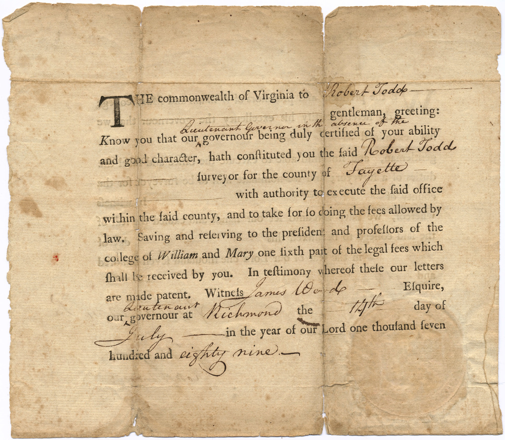 Appointment and certification of Virginia surveyor Robert Todd
