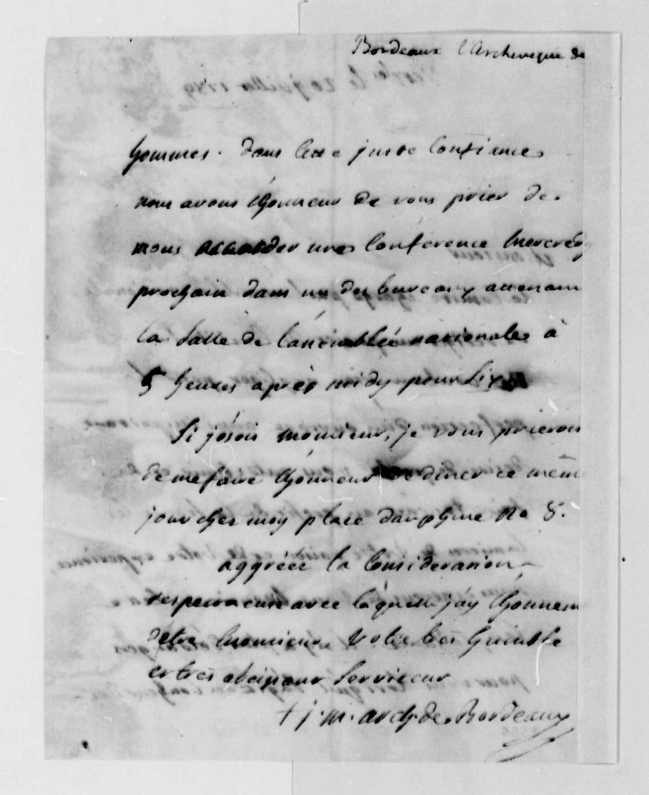 Archbishop Bordeaux to Thomas Jefferson, July 20, 1789, in French