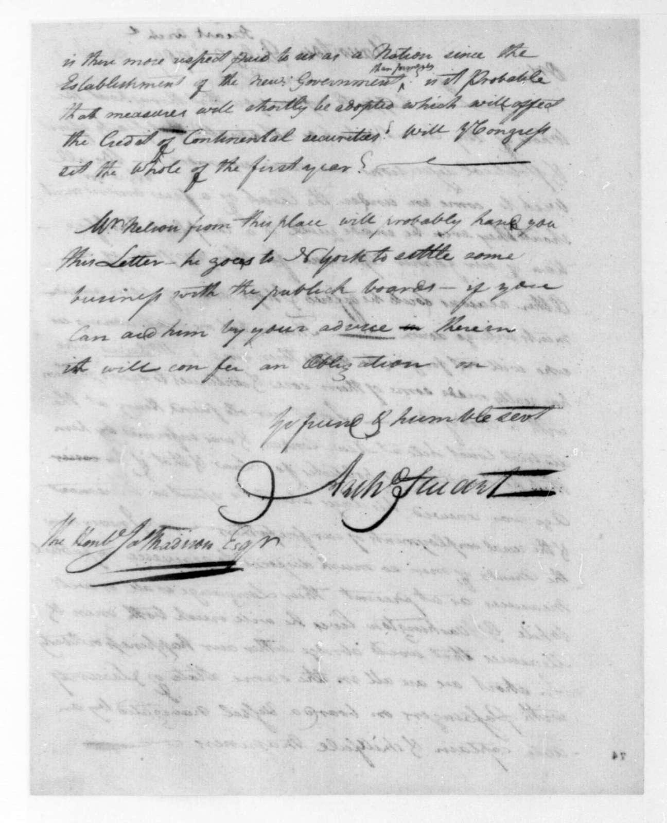 Archibald Stuart to James Madison, July, 1789.