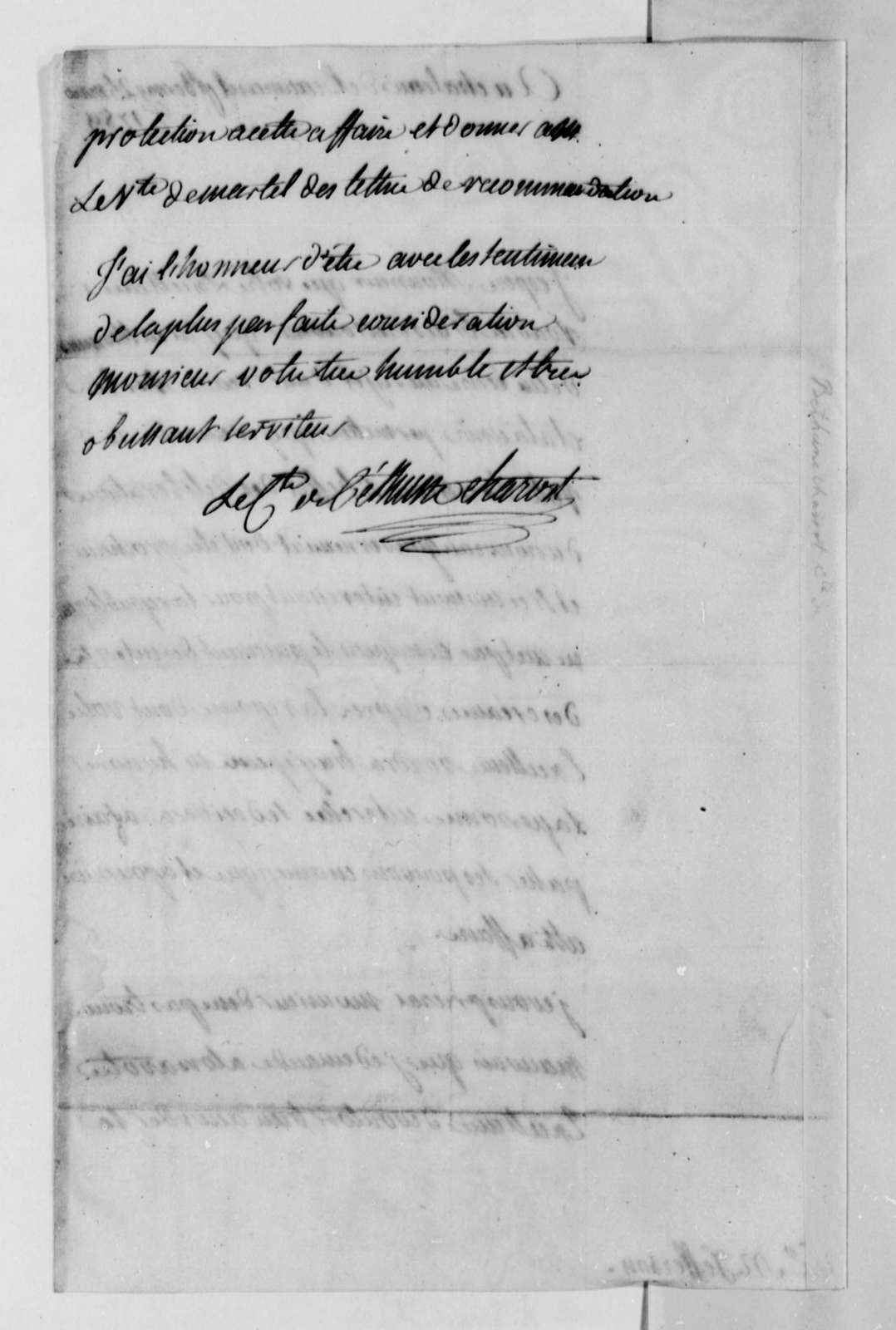 Armand Joseph Bethune-Charost to Thomas Jefferson, March 25, 1789, in French