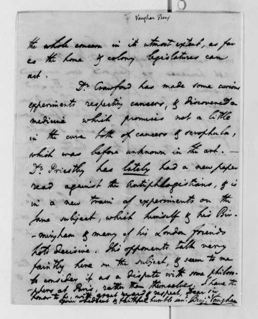 Benajmin Vaughan to Thomas Jefferson, May 7, 1789