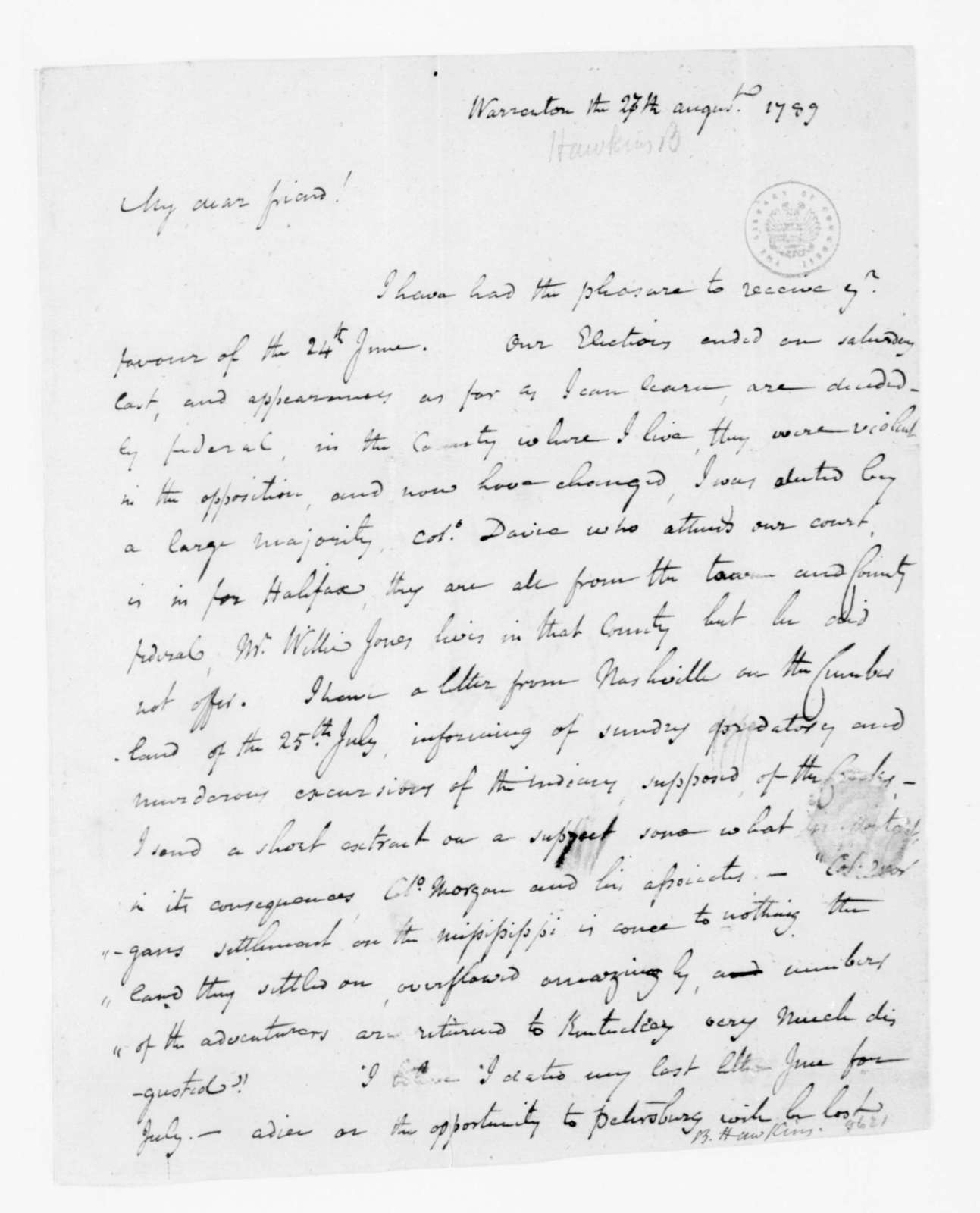 Benjamin Hawkins to James Madison, August 27, 1789.