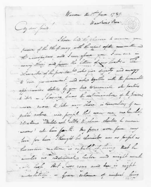 Benjamin Hawkins to James Madison, June 1, 1789.