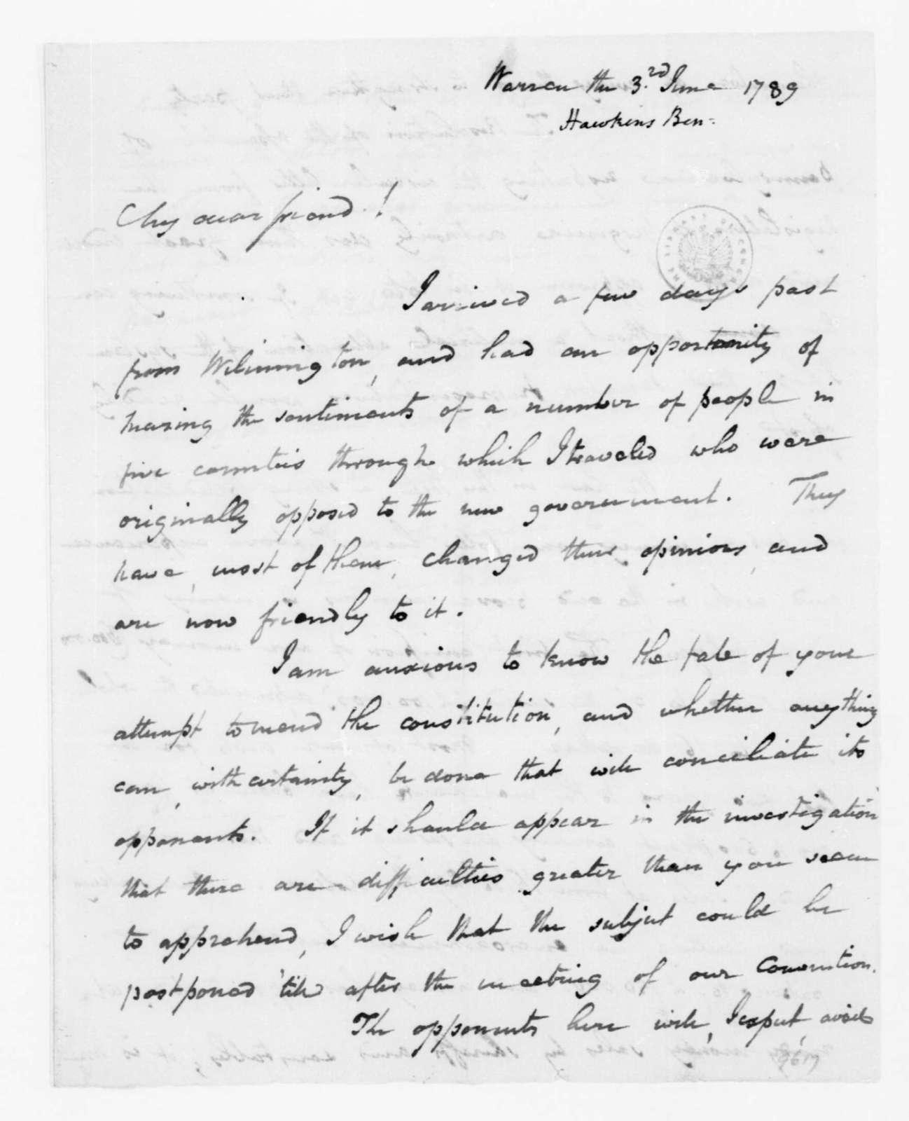 Benjamin Hawkins to James Madison, June 3, 1789.
