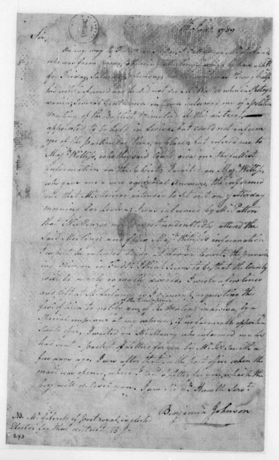 Benjamin Johnson to James Madison, January 12, 1789.