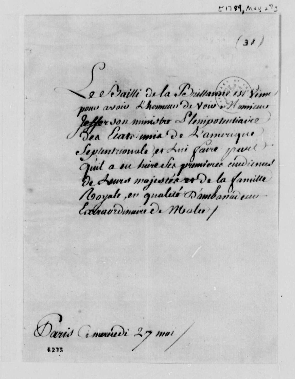 Brittany Province to Thomas Jefferson, May 27, 1789, in French