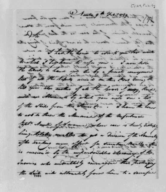 Burrill Carnes to Thomas Jefferson, February 9, 1789