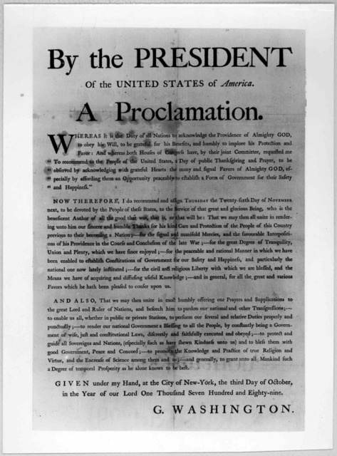 By the President of the United States of America. A proclamation ... Nowtherefore, I do recommend and assign Thursday the twenty-sixth day of November next to be devoted by the people of these states, to the service of that great and glorious Be
