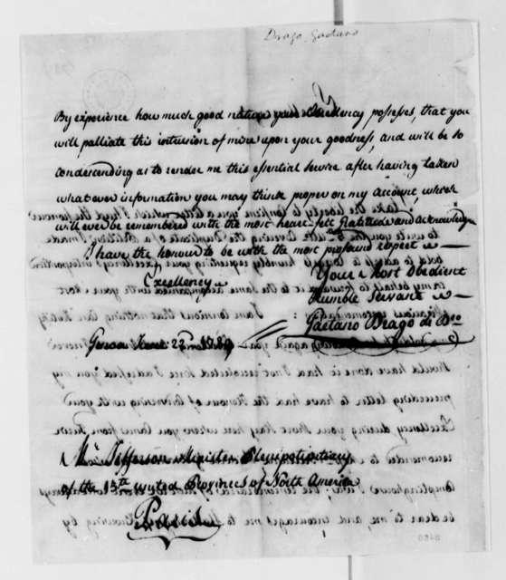 Caetano Drago to Thomas Jefferson, June 22, 1789