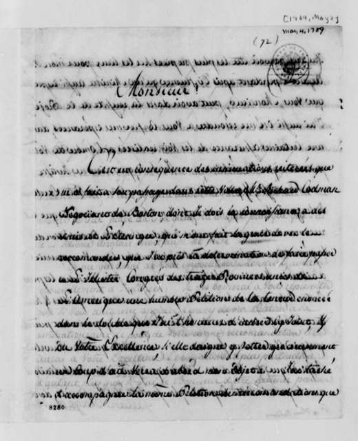Caetano Drago to Thomas Jefferson, May 4, 1789, in French