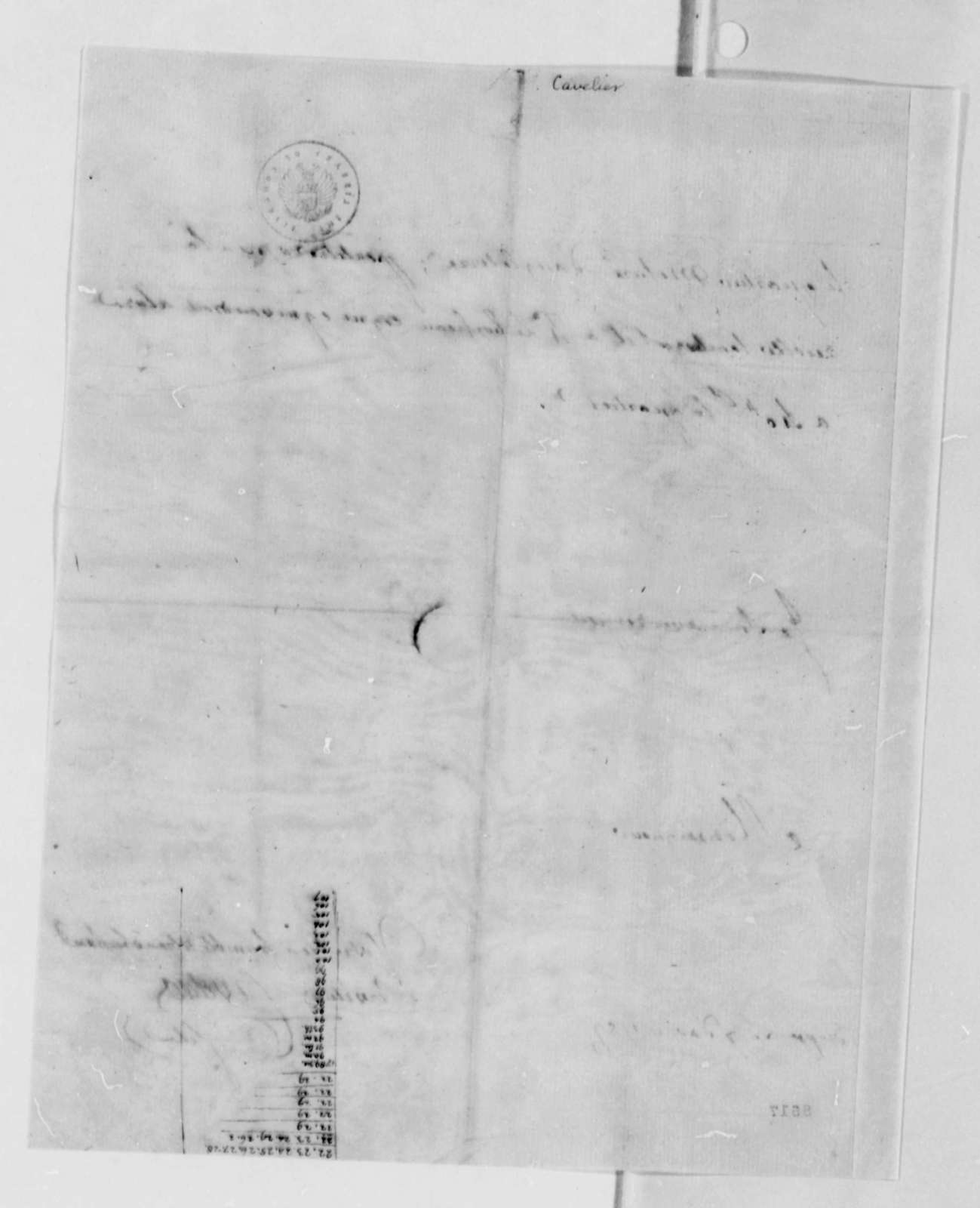 Cavelier to Thomas Jefferson, August 7, 1789