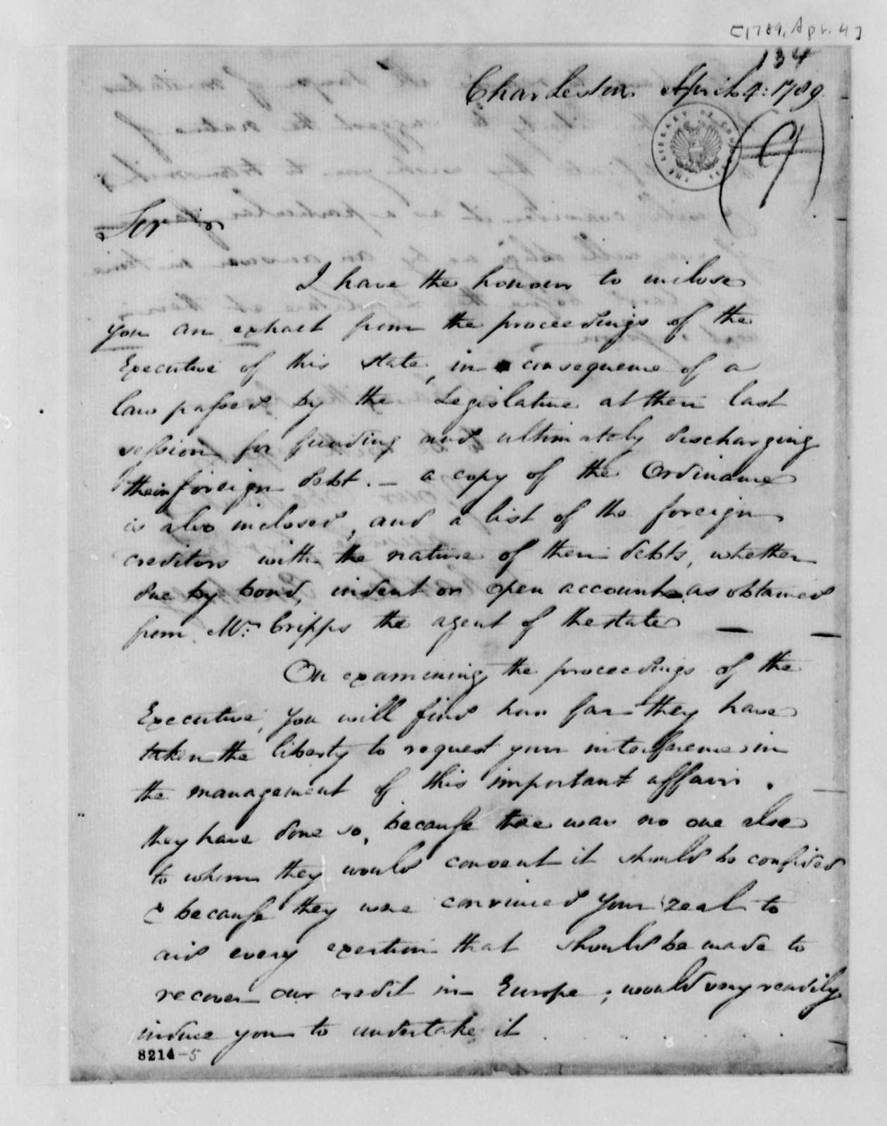 Charles Pinckney to Thomas Jefferson, April 4, 1789, with South Carolina Funding Ordinance