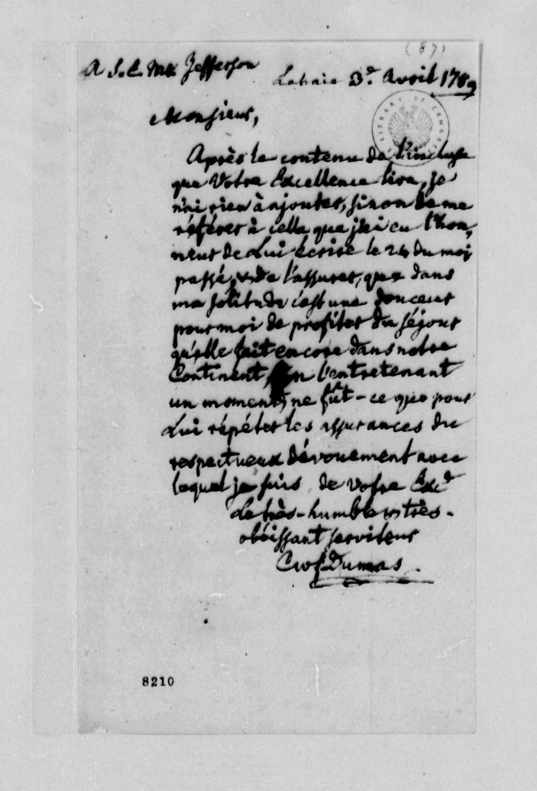 Charles W. F. Dumas to Thomas Jefferson, April 3, 1789, in French