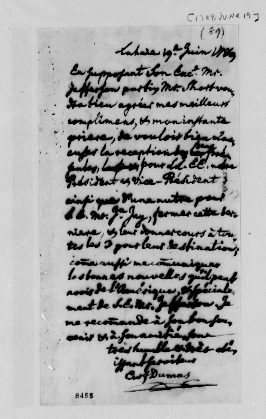 Charles W. F. Dumas to Thomas Jefferson, June 19, 1789, in French