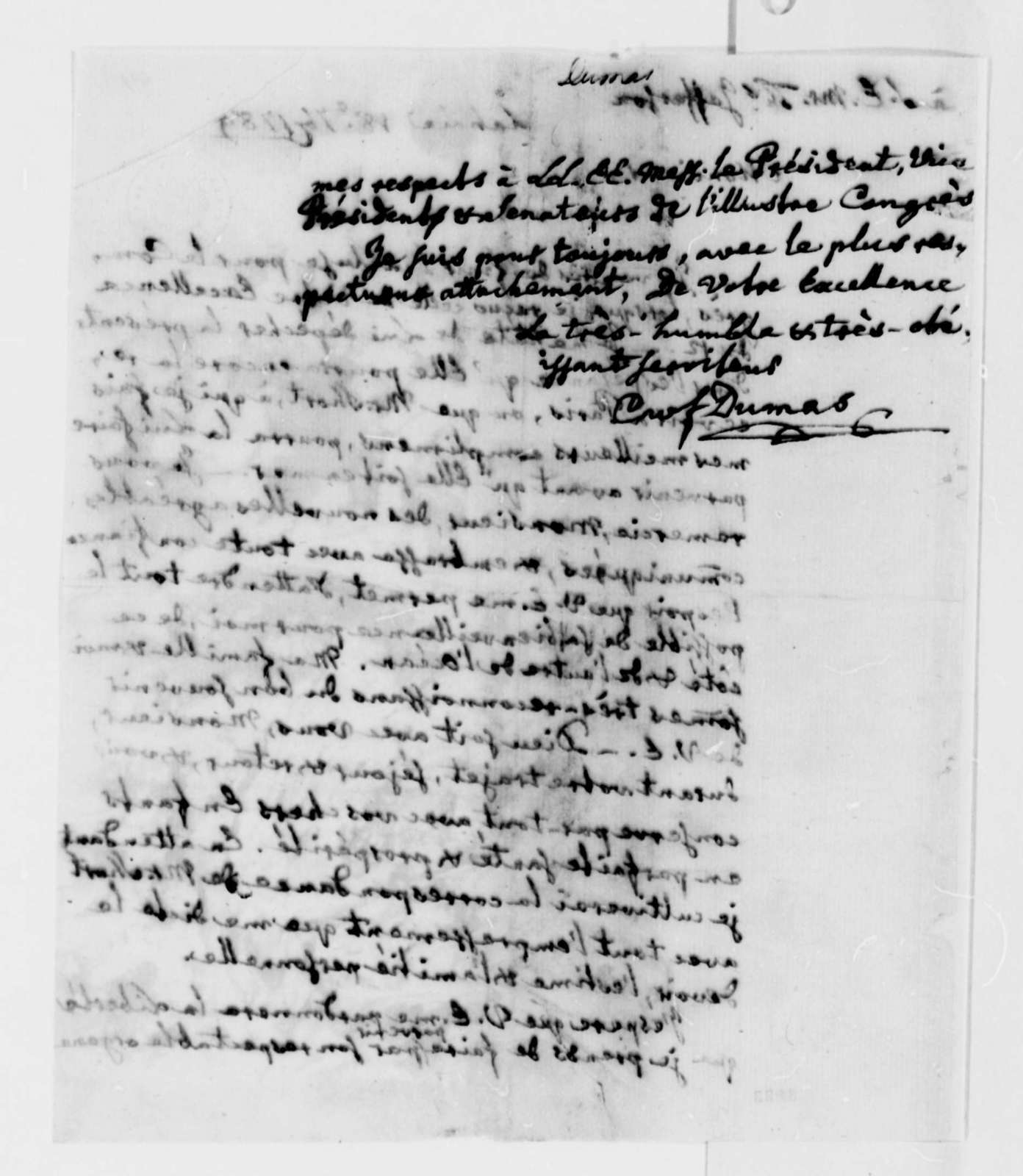 Charles W. F. Dumas to Thomas Jefferson, September 18, 1789, in French