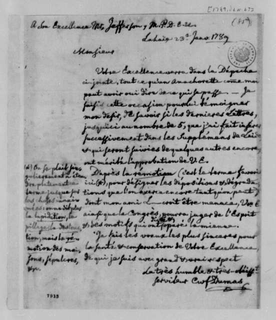 Charles William Frederic Dumas to Thomas Jefferson, January 23, 1789, in French