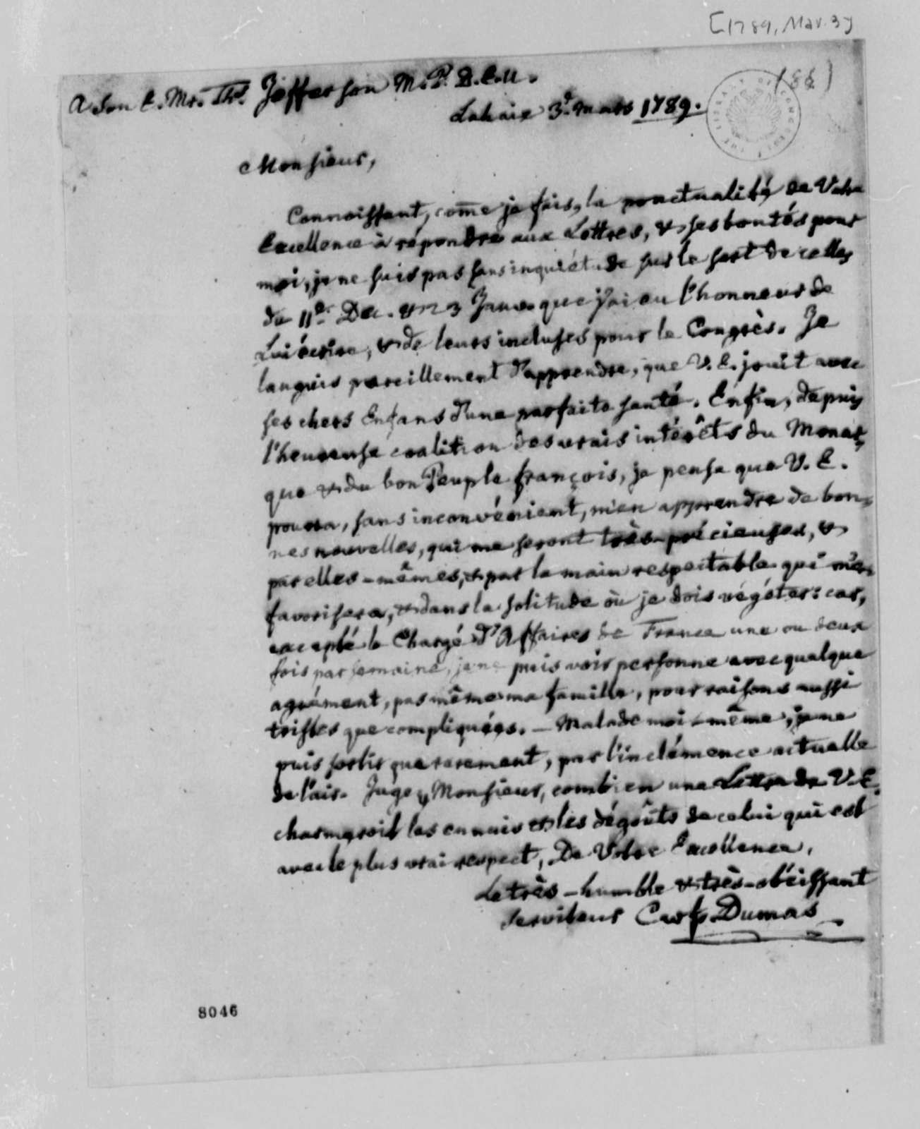 Charles William Frederic Dumas to Thomas Jefferson, March 3, 1789, in French