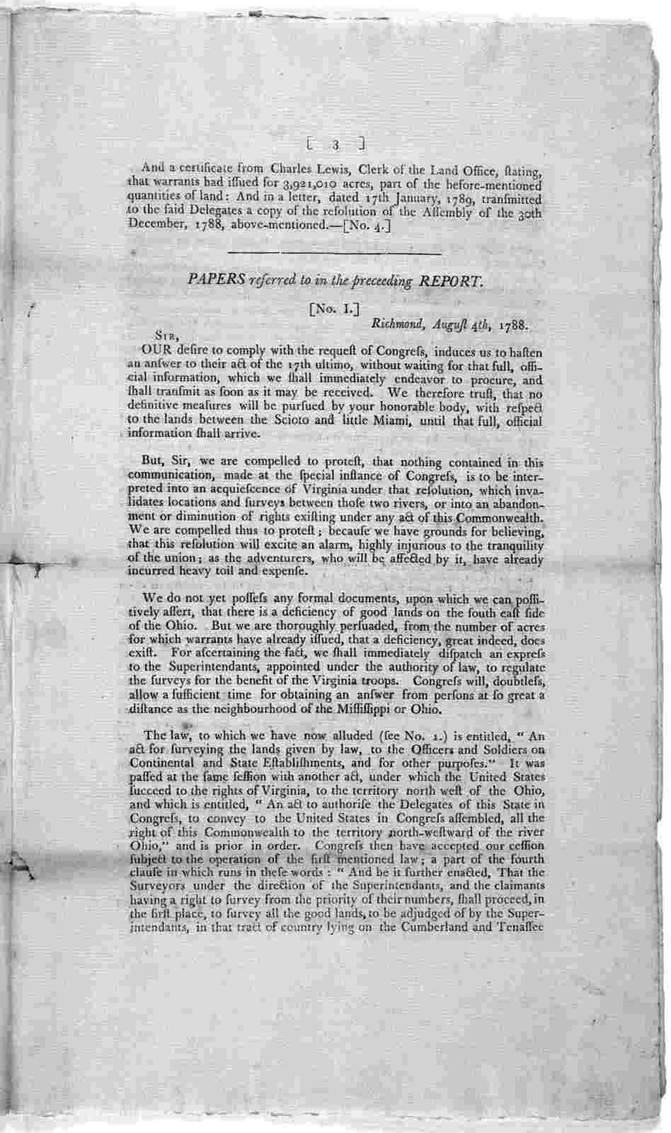 ... Committee, appointed to examine into the measures taken by Congress and the State of Virginia, respecting the lands reserved for the use of the officers and soldiers of the said state, on Continental and state establishments, in the cession