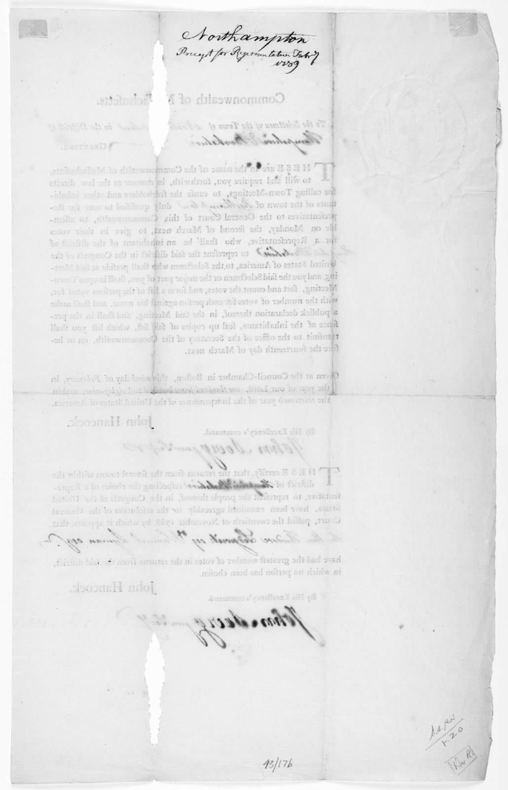 Commonwealth of Massachusetts. To the selectmen of the town of [blank] in the District of [blank] Greeting. These are in the name of the Commonwealth of Massachusetts, to will and require you, forthwith, in manner as the law directs ... this nin