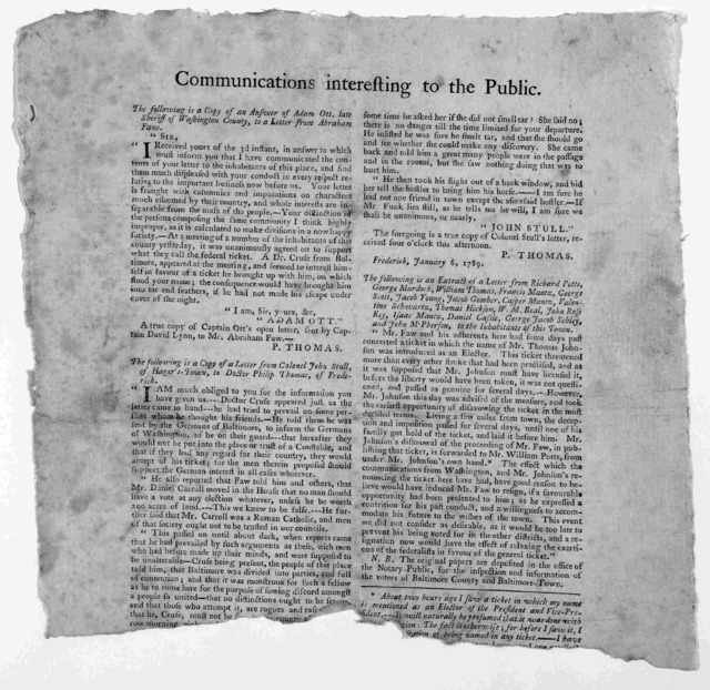 Communications interesting to the public. [consists of letters from Adam Ott, John Stull regarding Dr. Cruse of Baltimore] 1789.