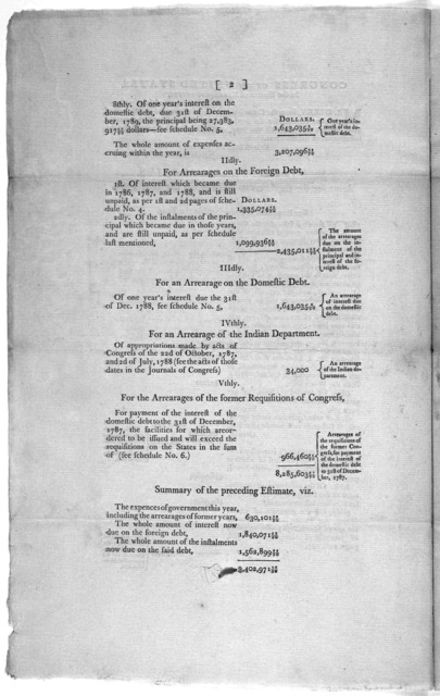 Congress of the United States, in the House of representatives, Friday, the 10th of July, 1789 ... An estimate of supplies requisite for the United States in the year 1789 ... [New York: Printed by Thomas Greenleaf, 1789].