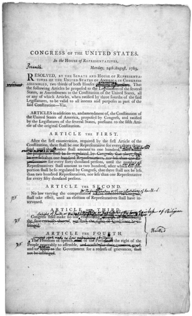 Congress of the United States in the House of representatives. Monday, 24th August, 1789. Resolved by the Senate and House of representatives, of the United States of America in Congress assembled, two thirds of both houses deeming it necessary,